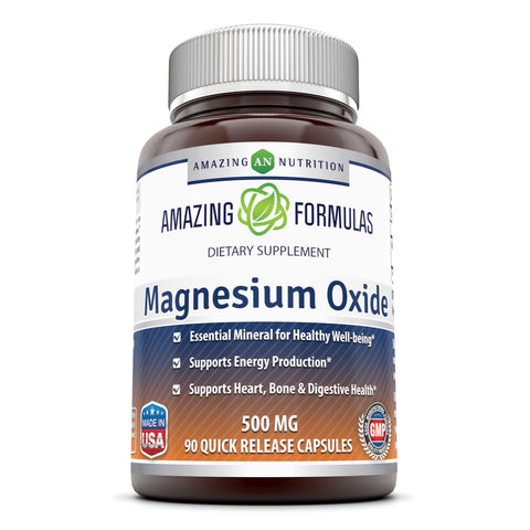 Amazing Formulas Magnesium Oxide Supplement - 500mg, 90 Capsules (Non-GMO,Gluten Free) - Essential Mineral For Healthy Well-Being, Supports Energy Production, Supports Heart, Bone & Digestive Health