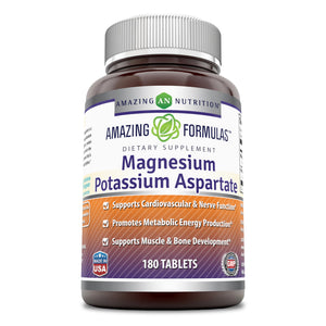 Amazing Formulas Magnesium Potassium Aspartate 180 Tablets(Non-GMO,Gluten Free) Supports Cardiovascular & Nerve Function, Promotes Metabolic Energy Production, Supports Muscle & Bone Development