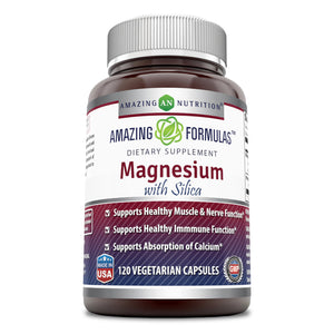 Amazing Formulas Magnesium with Silica - 300 Milligrams - 120 Vegetarian Capsules (Non-GMO,Gluten Free) Aids in Calcium Absorption- Supports Healthy Nerve, Muscle & Immune Function