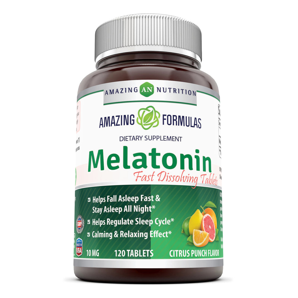 Amazing Nutrition Melatonin – 10 Mg 120 Tablets Tangy Citrus Punch Flavor Natural Sleep Aid Supplement –  Suitable for Vegetarians - Promotes Calming and Relaxing Effect,Helps Fall A Sleep & Regulate Sleep Cycle