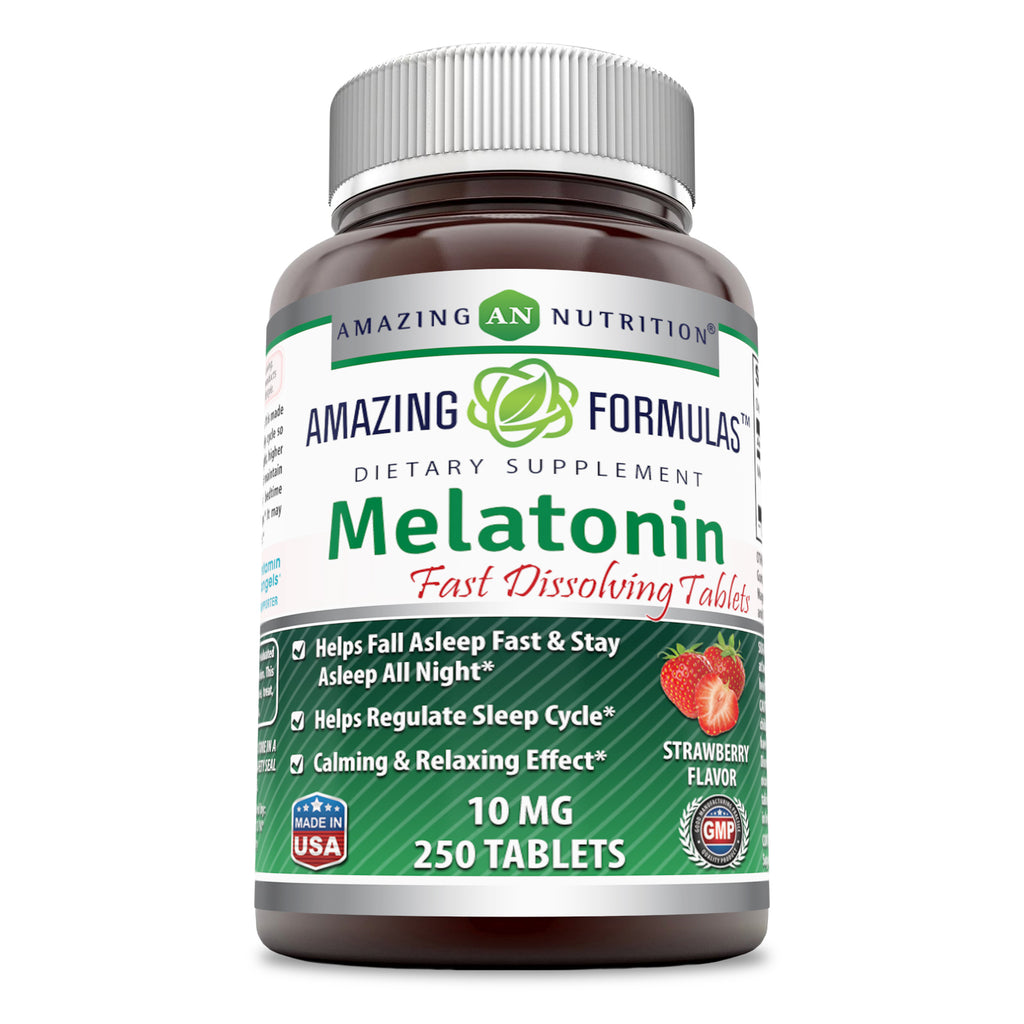 Amazing Formulas Melatonin Quick Dissolve-10 Mg (250Tablets,Strawberry) (Non-Gmo,Gluten Free) Helps Fall Asleep Fast&Stays Asleep All Night - Helps Regulate Sleep Cycle-Calming & Relaxing Effect