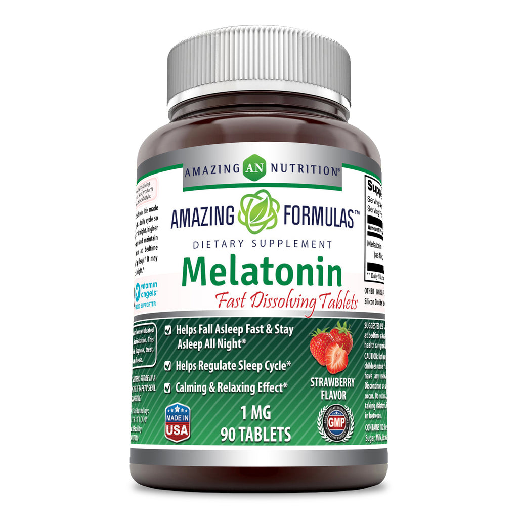 Amazing Formulas Melatonin - 1 Mg, 90 Tablets - Strawberry - Helps Fall Asleep & Stay Asleep All Night - Helps Regulate Sleep Cycle - Calming & Relaxing Effect
