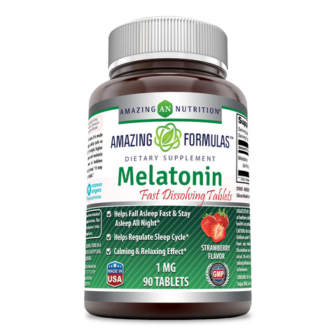 Amazing Formulas Melatonin - 1 Mg, 90 Tablets - Strawberry