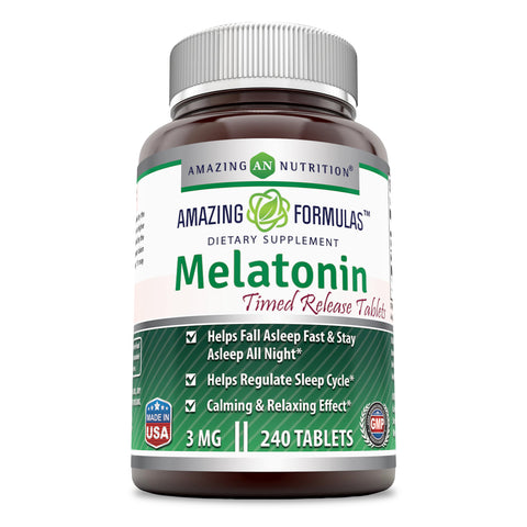 Amazing Formulas Melatonin (Timed Release) – 3 Mg  240 Tablets  Best Choice of Natural Sleep Aid Supplement – Suitable for Vegetarian Promotes Calming and Relaxing Effect,Helps Fall A Sleep & Regulate Sleep Cycle