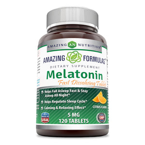 Amazing Formulas Melatonin Quick Dissolve5 Mg (120 Tablets, Citrus) (Non-GMO,Gluten Free)Helps Fall Asleep Fast & Stays Asleep all Night - Helps Regulate Sleep Cycle - Calming & Relaxing Effect