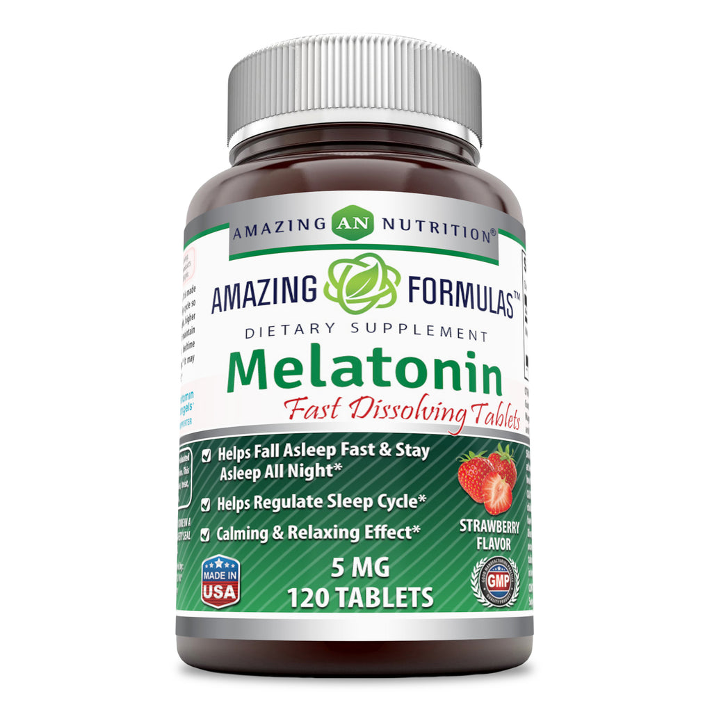 Amazing Formulas Melatonin Quick Dissolve-5 Mg Tablets(120 Count,Strawberry)(Non-GMO,Gluten Free)-Helps Fall Asleep Fast & Stays Asleep all Night-Helps Regulate Sleep Cycle-Calming & Relaxing Effect
