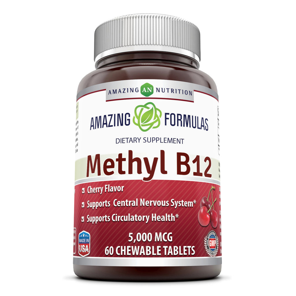Amazing Formulas Methyl B12 5000 Mcg 60 Chewable Tablets (Cherry Flavor) - Amazing Nutrition