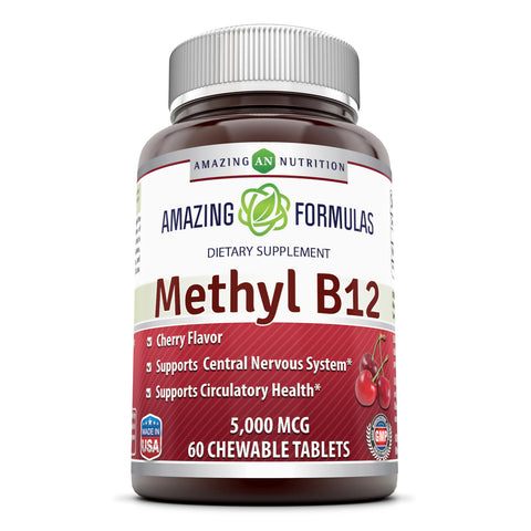 Image of Amazing Formulas Methyl B12 5000 Mcg 60 Chewable Tablets (Cherry Flavor) - Amazing Nutrition
