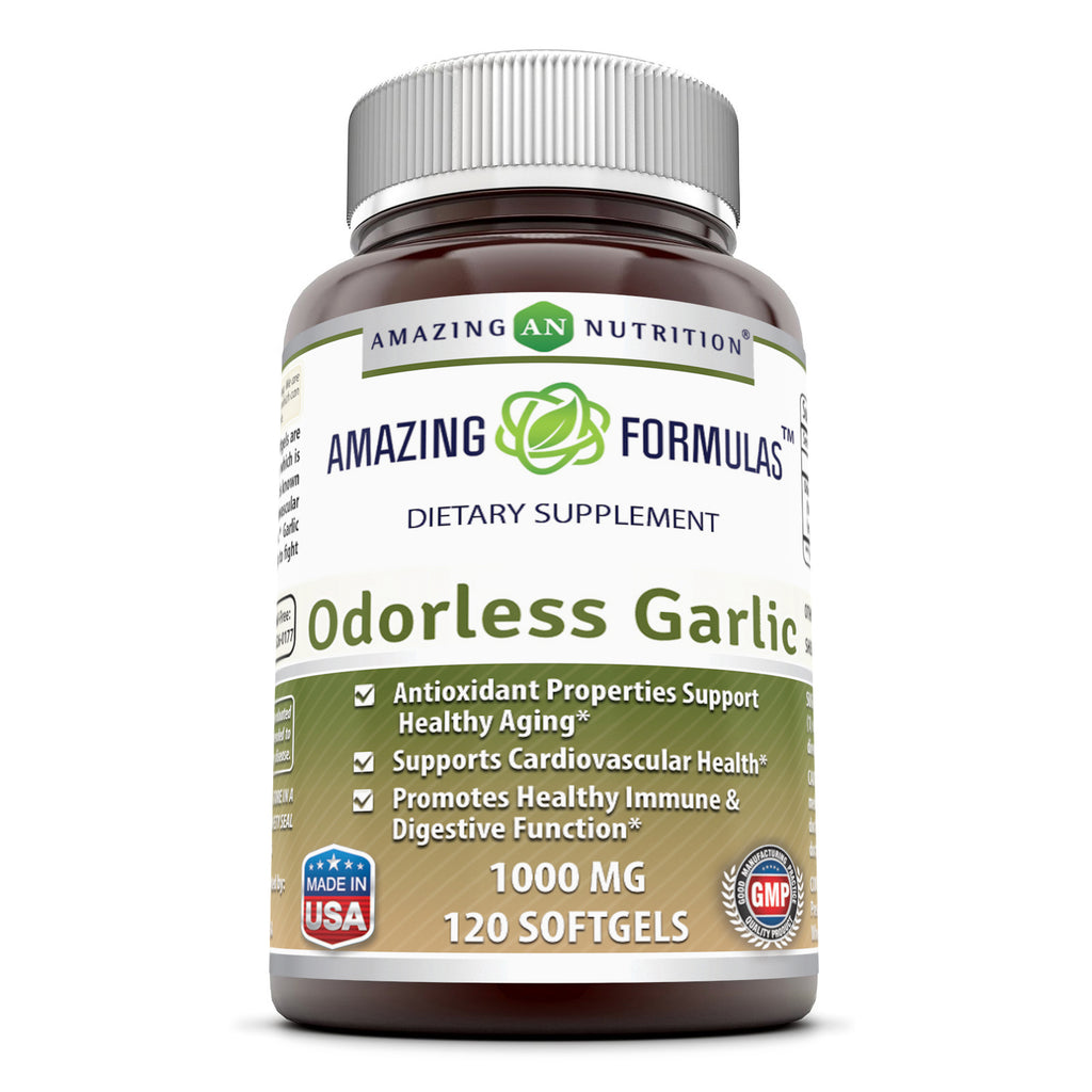 Amazing Formulas Odorless Garlic 1000 Mg 120 Softgels - Amazing Nutrition