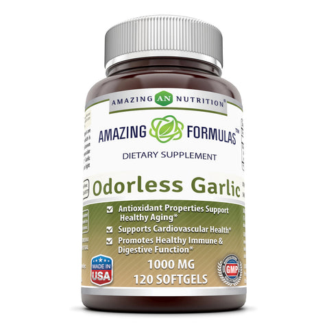 Image of Amazing Formulas Odorless Garlic 1000 Mg 120 Softgels - Amazing Nutrition