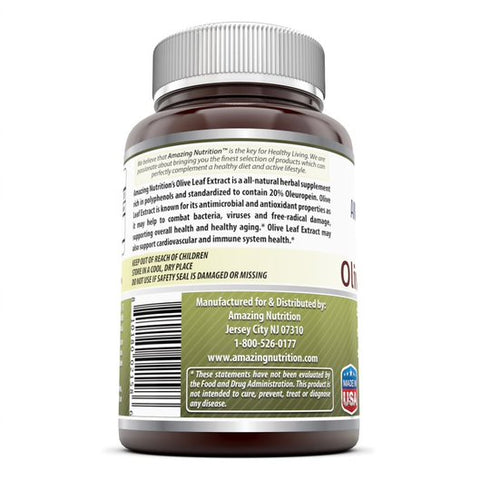 Amazing Nutrition Olive Leaf Extract - 150mg, 120 Capsules Per Bottle - Standardized to Contain 20% Oleuropein (30 mg) – Antimicrobial and Anti-oxidant Properties*- Supports Immune Function