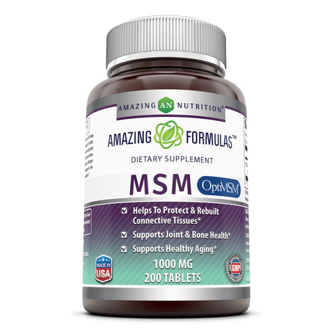 Image of Amazing Formulas Opti MSM 1000 mg 200 Tablets Aids In Healthy Aging,Healthy Hair, Skin & Nails ,Joints, Bones & Muscles
