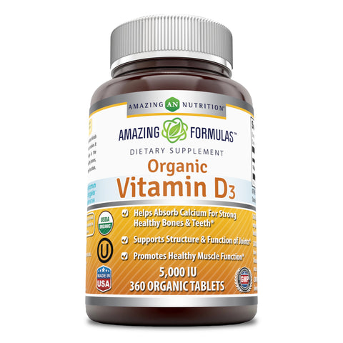 Image of Amazing Formulas Organic Vitamin D 3 5000 IU 360 Tablets