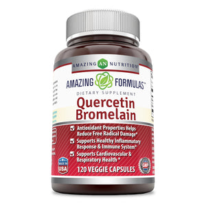 Amazing Nutrition- Quercetin 800 Mg with Bromelain 165 Mg, 120 Veggie capsules : Providing Amazing Health Benefits. Anti-oxidant and Anti-inflammatory Properties. Supports Heart Health, Joint Health, Energy Production and Overall Healthy Well-being