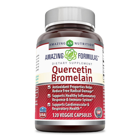 Image of Amazing Nutrition- Quercetin 800 Mg with Bromelain 165 Mg, 120 Veggie capsules : Providing Amazing Health Benefits. Anti-oxidant and Anti-inflammatory Properties. Supports Heart Health, Joint Health, Energy Production and Overall Healthy Well-being