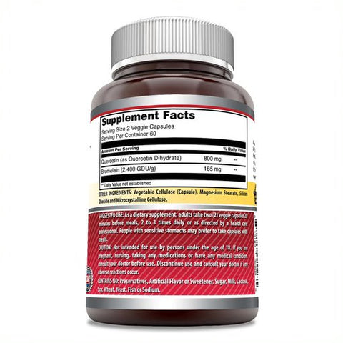 Amazing Formulas Quercetin 800 Mg With Bromelain 165 Mg 120 Veggie Capsules - Amazing Nutrition