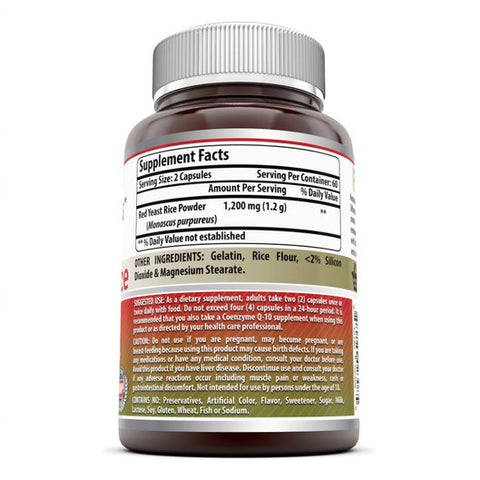 Amazing Nutrition Red Yeast Rice Dietary Supplement - 1200mg - 120 Capsules  of Best Quality Red Yeast Rice Powder Per Serving – Supports Cardiovascular Health,Healthy Weight Management And Overall Healthy And Well Being (Non-GMO,Gluten Free)