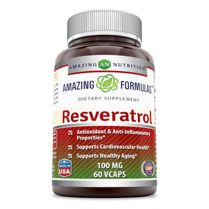 Amazing Formulas Resveratrol (100 mg) 60 Veggie Capsules (Non-GMO,Gluten Free) Antioxidants and Anti-Inflammatory Properties, Supports Cardiovascular Healthy and Supports Healthy Aging *