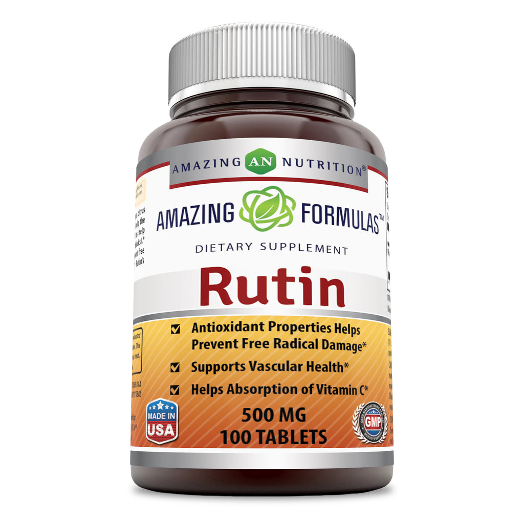 Amazing Formulas Rutin - 500mg, Tablets (100 Count) (Non-GMO,Gluten Free ) - Antioxidant Properties - Helps Absorption of Vitamin C - Supports Vascular Health*