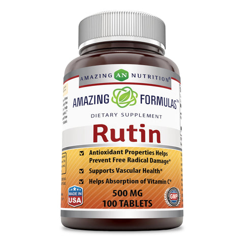 Image of Amazing Formulas Rutin - 500mg, Tablets (100 Count) (Non-GMO,Gluten Free ) - Antioxidant Properties - Helps Absorption of Vitamin C - Supports Vascular Health*