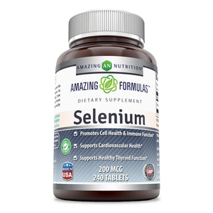 Amazing Nutrition Selenium * 200mcg Natural Selenium Yeast * 240 Tablets Per Bottle  * Promotes Cell Health, Immune Function, Cardiovascular Health and Healthy Thyroid Function and More