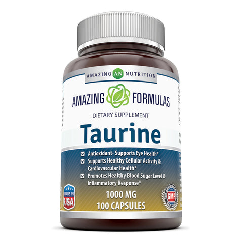Image of Amazing Formulas Taurine 1000mg Amino Acid Supplement 100 Capsules (Non GMO,Gluten Free) - Potent Antioxidant - Supports Eye Health, Healthy Cellular Activity & Cardiovascular Health