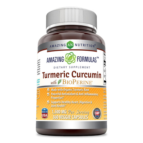 Image of Turmeric Curcumin with BioPerine 1500mg 360 Veggie Capsules Highest Potency Available. Premium Organic Joint & Healthy Inflammatory Support. Organic, Non-GMO, Gluten Free Capsules with Black Pepper Extract