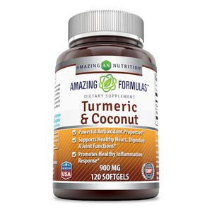 Amazing Formulas Natural Turmeric & Coconut 900 Milligrams 120 Softgels