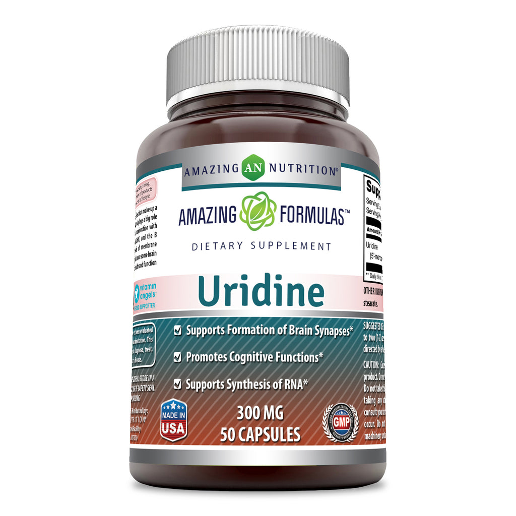 Amazing Formulas Uridine Dietary Supplement 300 Milligrams 50 Capsules