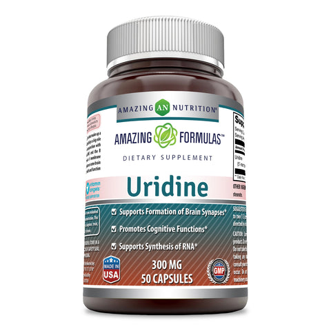Amazing Formulas Uridine Dietary Supplement 300 Milligrams 50 Capsules (Non-GMO, Gluten Free) - Supports Cognitive Functions - Encourages Synthesis of RNA (1) Promotes Liver Health