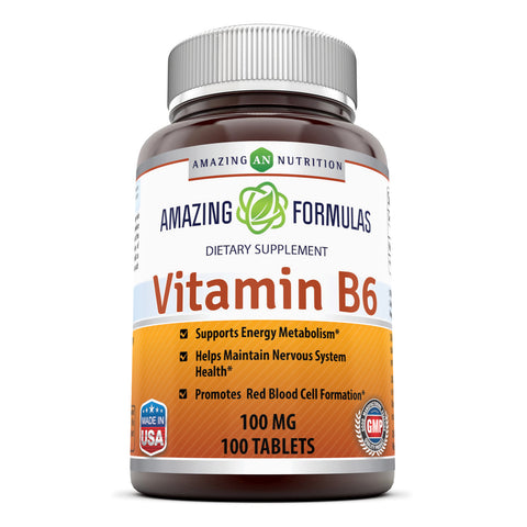 Image of Amazing Formulas Vitamin B6 100 Mg 100 Tablets - Amazing Nutrition