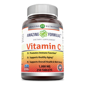 Amazing Formulas Vitamin C 1000 Mg,Tablets  (250 Count) - (Non-GMO,Gluten Free, Vegan) - Promotes Immune Function- Supports Healthy Aging- Supports Overall Health & Well-Being