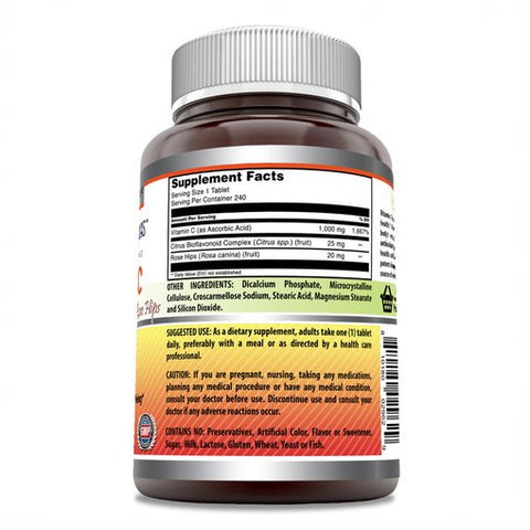 Amazing Formulas Vitamin C with Rose Hips and Citrus bioflavonoids – 240 Tablets- Non-GMO, Vegan - Promotes Immune Function* - Supports Healthy Aging* - Supports Overall Health & Well-Being