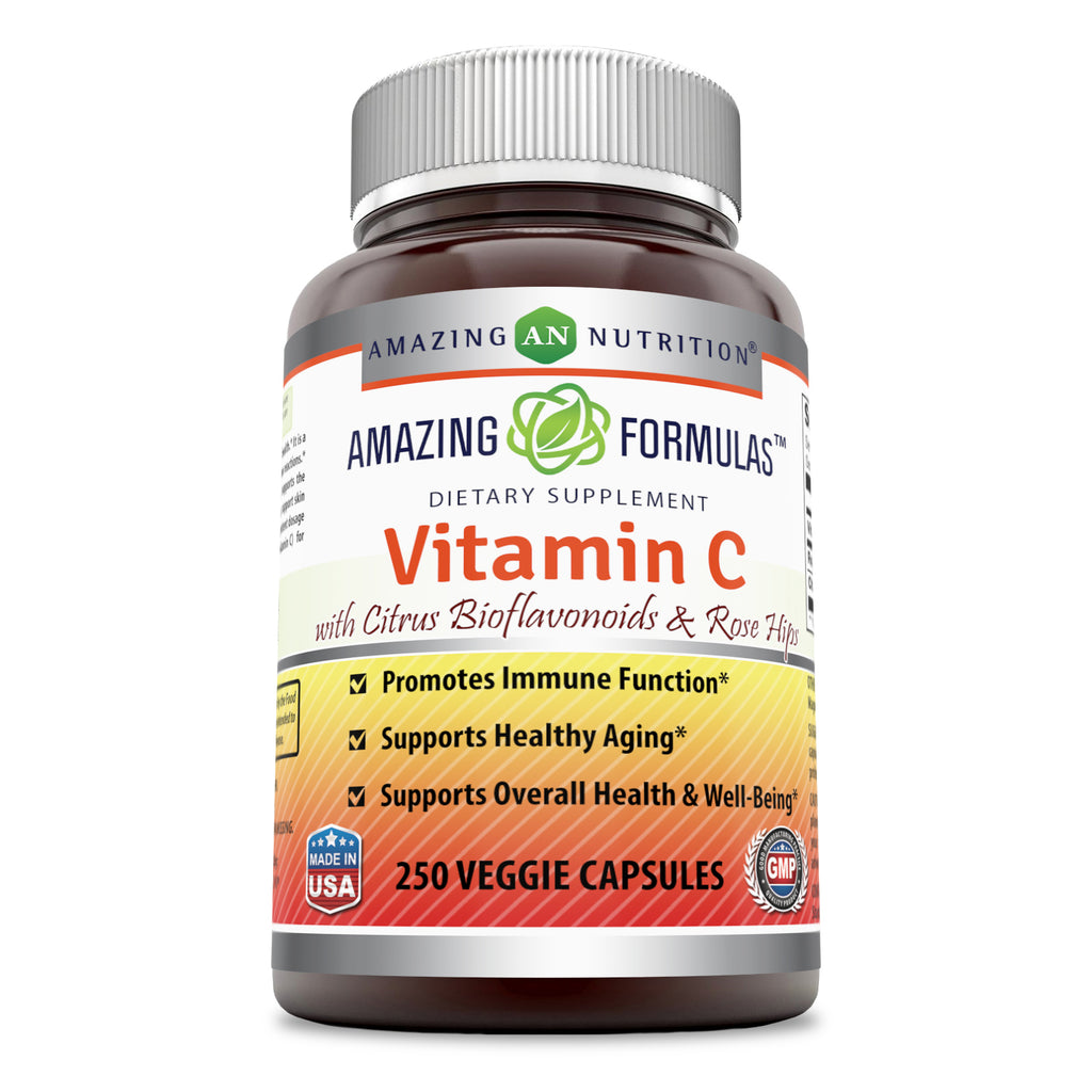 Amazing Formulas Vitamin C (Ascorbic Acid) with Rose Hips & Citrus Bioflavonoids - 1000mg 250 Vegetarian Capsules