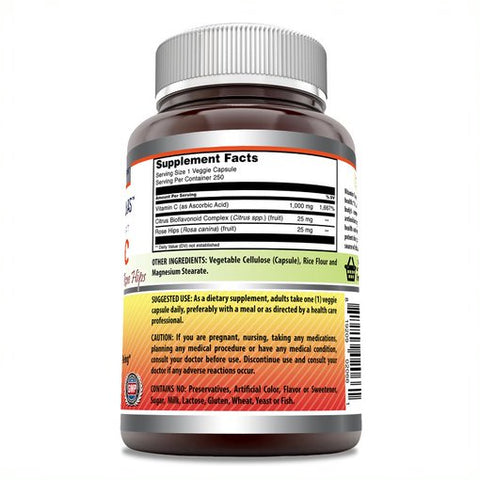 Image of Amazing Formulas Vitamin C (Ascorbic Acid) with Rose Hips & Citrus Bioflavonoids - 1000mg 250 Vegetarian Capsules