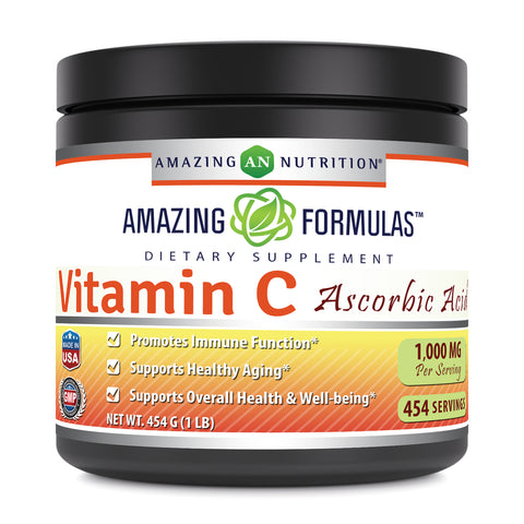 Image of Amazing Formulas Vitamin C 1 Lb. Powder Ascorbic Acid Dietary Supplement - (Approx. 454 Servings)
