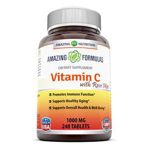 Amazing Formulas Vitamin C with Rose Hips Dietary Supplement - Non-GMO 1000 Mg 240 Tablets (Non-GMO,Gluten Free)Promotes Immune Function-Supports Healthy Aging-Supports Overall