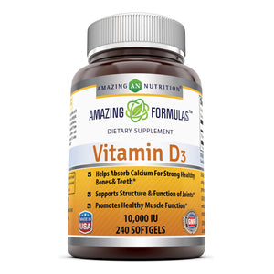 Amazing Formulas Vitamin D3 cholecalciferol - 10,000 Iu, 240 Softgels - Supports Calcium Absorption - Essential for Bone Health - Supports Healthy Immune Function