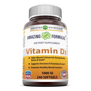 Amazing Formulas Vitamin D3 1000 IU 240 Softgels - Amazing Nutrition