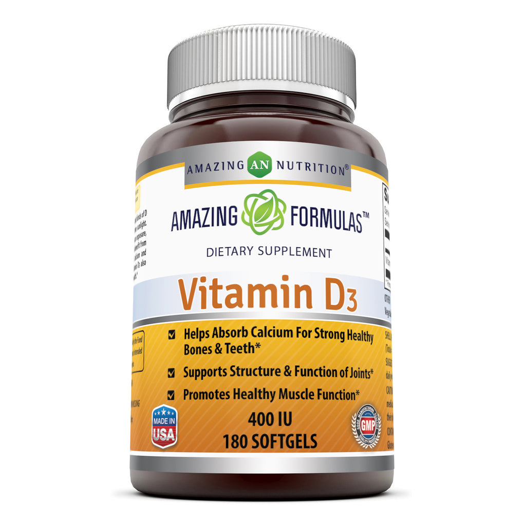 Amazing Formulas Vitamin D3 400 IU 180 Softgels - Amazing Nutrition