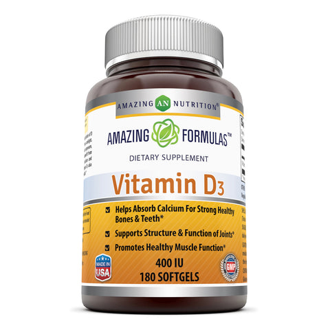 Image of Amazing Formulas Vitamin D3 400 IU 180 Softgels - Amazing Nutrition