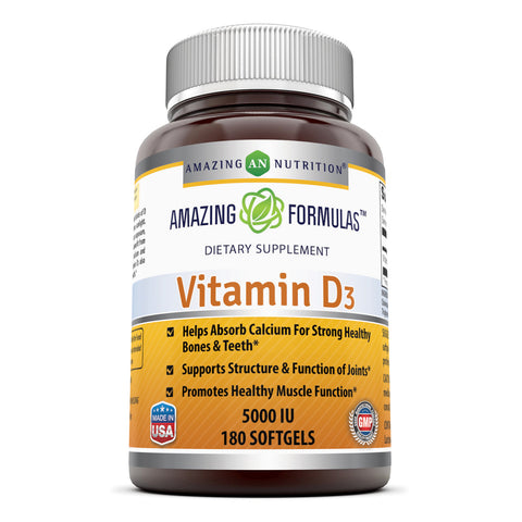 Amazing Formulas Vitamin D3 5000 IU 180 Softgels