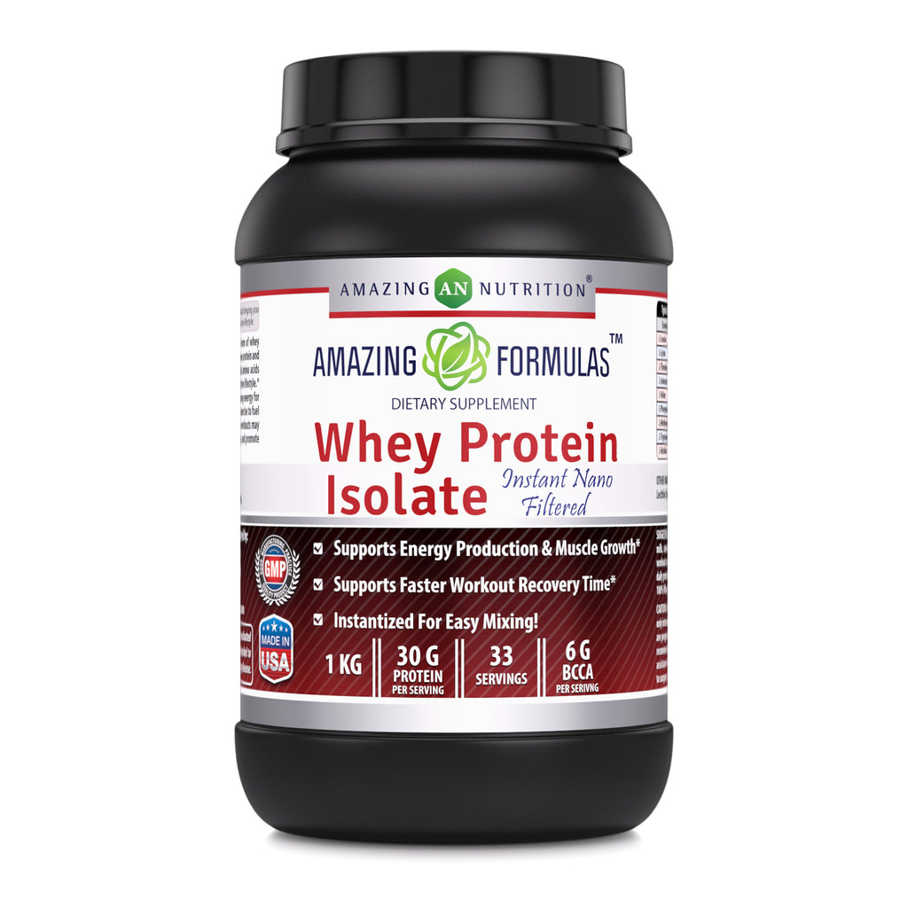 Amazing Formulas Whey Protein Isolate Powder 2 lbs 27g Protein Per Serving - Clean & Pure Unflavored 90% Isolate for Men & Women | Build Muscle Mass & Burn Fat Fast