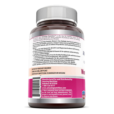 Amazing Formulas Women s One Multiple - 150 Tablets 25 Million - Perfect Blend of Vitamins, Minerals, CFU probiotics & Food-Based enzymes for Easy Digestion, Supports Healthy Heart, reproductive
