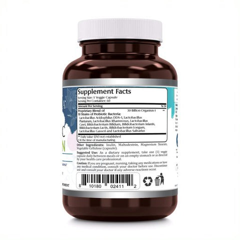 Image of Amazing Flora Probiotic 30 Billion 10 Probiotic Strains 60 Veggie Capsules