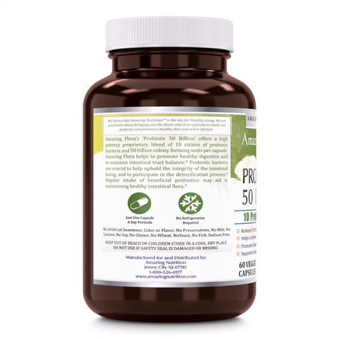 Amazing Flora Probiotic 50 Billion 10 Probiotic Strains 60 Veggie Capsules