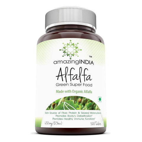 Amazing India Alfalfa Green Super Food 650 Mg 500 Tablets