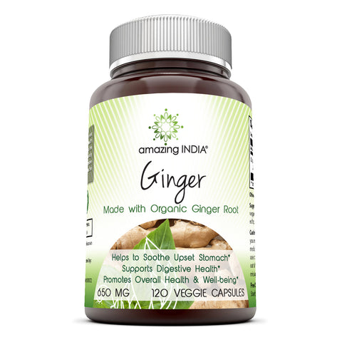 Amazing India Ginger Root (Made with Organic Ginger) 650 mg 120 Veggie Capsules (Non-GMO) - All-Natural Digestive Aid, Helps with Nausea and Upset Stomach, Promotes Heart and Immune Health*