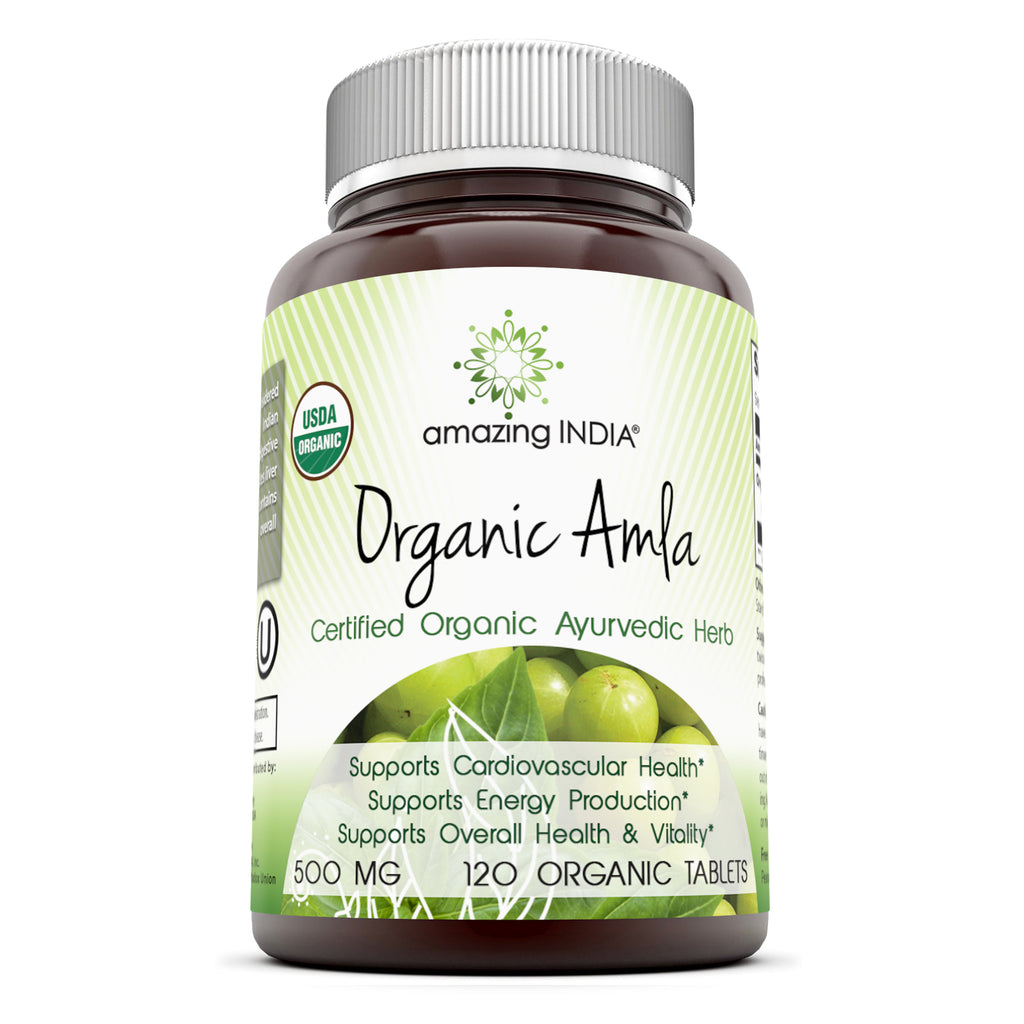Amazing India USDA Certified Organic Amla 500 Mg 120 Veggie Capsules