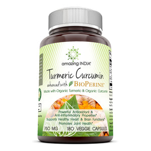 Amazing India Turmeric Curcumin With Bioperine 750 Mg 180 Veggie Capsules